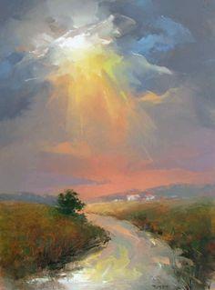 Karol Turski by shari Pastel Landscape, Abstract Landscape Painting, Watercolor Landscape, Landscape Art, Landscape Paintings, Watercolor Art, Landscape Design, Foto Picture, Sky Painting