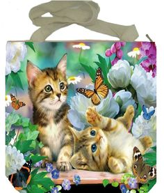 Cat kitten butterfly flower garden shopping tote shoulder handbag zip handmade #Handmade #ShoulderBag