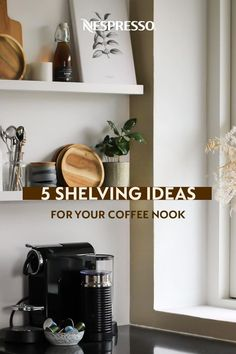 Explore 5 home decor ideas for organizing your coffee bar with shelves. 1. Open shelves: Use vertical space to show off your coffee accessories. 2. Freestanding shelves: A good DIY storage option, even when counter space is limited. 3. Hidden shelves: This WFH coffee bar hides behind closet doors when not in use. 4. Cabinet shelves: Store often-used accessories above your Nespresso machine. 5. Lower shelves: Under-cabinet shelves offer space to stash extra sleeves, frothers and more. Under Cabinet Shelf, Nespresso Usa, Hidden Shelf, Nespresso Machine, Coffee Nook, Home Coffee Stations, Coffee Accessories, Espresso Coffee, Diy Storage