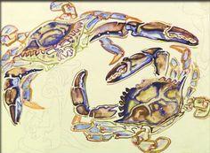 Crabs Watercolor - Walter Anderson Museum - Ocean Springs, Mississippi - photo by Sandy Robert Walter Anderson, Ocean Springs, House By The Sea, Heart Art, Art Market, American Artists, Unique Art, Wonders Of The World, Art Museum