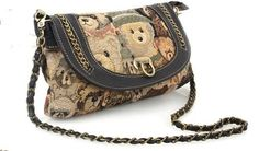 Hot sale! Quality Guaranteed! Free shipping ladies vintage lovely panda dual-use clutch handbag shoulder purses with long chains