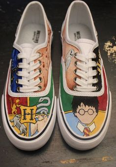 6eac0dc56843 Harry Potter Custom Shoes Painted Shoes Hogwarts by LoveLeyni