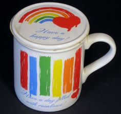 Have a Day Filled with Rainbows Coffee Cup Mug w Coaster Gay Lesbian LGBT