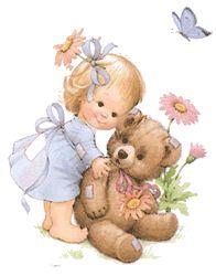 Hugging her Teddy cute hug little girl bear teddy bear