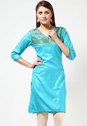 Blue coloured kurta for women from Anahi. Made of cambric, this kurta has 3/4th sleeves and a V-neck. Look your ethnic best wearing this blue coloured kurta from the house of Anahi. Made of cambric, this kurta will lend you a classy and sophisticated look.
