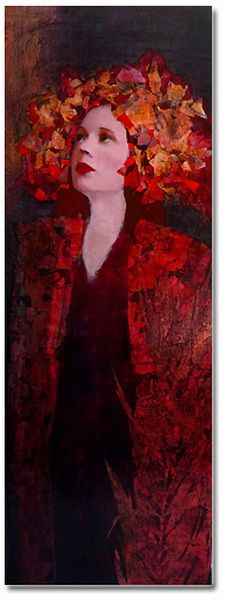 """Artodyssey"":by artist Richard Burlet. Richard Burlet was born in France in 1957. His art is inspired by Art Nouveau, especially Klimt. He works in oils and collage, including gold and silver leaf."