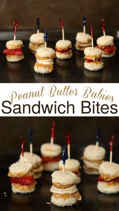 These Peanut Butter Babies are the perfectly bite-sized finger foods! They combine Strawberries & Bananas w/ a Mini PB Sandwich on calcium fortified bread on a stick for a fun & clever lunch or snack (Favorite Party Appetizers) Kids Party Finger Foods, Baby Shower Finger Foods, Kids Party Snacks, Birthday Party Snacks, Easy Kid Party Food, Finger Foods For Wedding, Birthday Party Food For Kids, Easy Finger Food, Summer Finger Foods