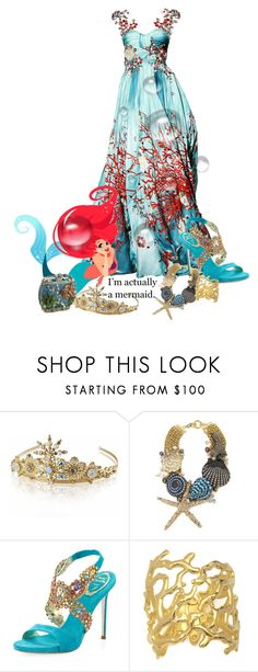 """""""Ariel"""" by texaspinkfox ❤ liked on Polyvore featuring Zuhair Murad, TIARA, Badgley Mischka, René Caovilla, Kenneth Jay Lane and Mary Frances Accessories"""