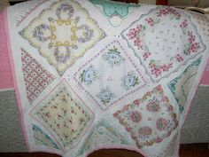 Baby quilts from vintage hankies. Handgathered