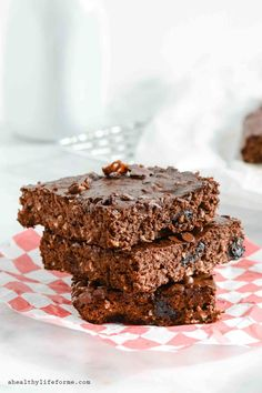 Double Chocolate Coconut Protein Brownies Healthy Treat Recipe