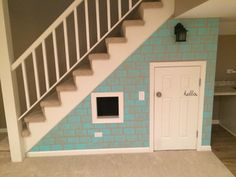 """Finally finished the clubhouse under the stairs. I am so happy with how it turned out and it was definitely the easiest route to the """"house"""" look I wanted."""
