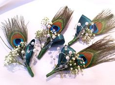 Peacock feather buttonholes with baby's breath detail on the decoration.