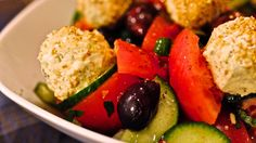 Greek Salad with Herb Infused Olive oil and Oregano Feta Marbles
