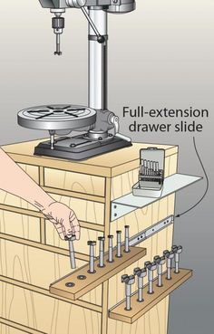 To organize your Forstner bits and drilling accessories and make them quick to access, try mounting full-extension drawer slides to the cabinet side for a series of sliding shelves.