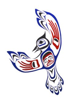 Cousin to Raven, of the corvidae clan, this crested jay is easily recognized throughout the Northwest coast. Native American Symbols, Native American Design, Native Design, American Indian Art, Arte Tribal, Tribal Art, Totem Pole Art, Totem Poles, First Nations