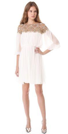 Marchesa Long Sleeve Cocktail Dress   SHOPBOP