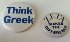 Vintage Lot 2 Sorority Think Greek  Zeta Makes the Difference Pin Pinback Button