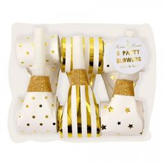 Gold and white Party Blowers - 6 white and gold foil embellished party blowers, the perfect addition at any party! #partyblowers #metallicparty #goldparty