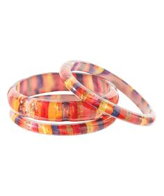 Another great find on #zulily! Rust & Yellow Stripe Bangle Set #zulilyfinds