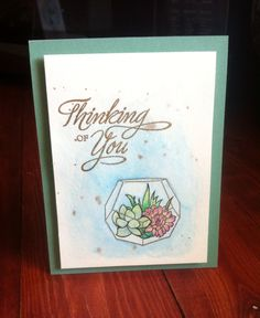 Thinking of you succulent card. Hero Arts succulent stamp and gold embossing powder. CTMH sentiment and colored card stock. Entry for Simon Says Stamp Wednesday challenge blog. Clean and Simple challenge using Hero Arts products.