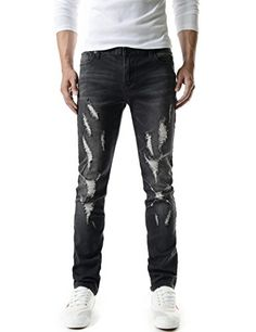 (TJ1198) Mens Casual Slim Fit Vintage Distressed Destroyed Washing Denim Jeans   (TJ1198) Mens Casual Slim Fit Vintage Distressed Destroyed Washing Denim Jeans THELEES is a fashion brand designer which specializes in clothing and accessories.  Our main products are coats, jackets, blazers, tshirts, cardigans, shirts, sweaters, suits, chinos, jeans, pants and accessories for men and women.  This light wash destroyed jeans features Slim straight fit and Slightly stretchy. This jeans ..