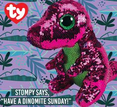 TY Beanie Boos Tremor the Dinosaur with Reversible Sequins and Red Heart Tag