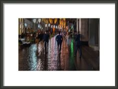 Liberty walk by Svetlana Iso.     ...Have you noticed that near one of the gentleman is invisible angel in white?...     Abstract blurred young people walking down the street in rainy evening, Impressionism style, colorful lighting. Intentional motion blur. Concept of seasons, weather, modern city, lifestyle, leisure  #SvetlanaIso #SvetlanaIsoFineArtPhotography #Photography #ArtForHome #InteriorDesign #FineArtPrints #Home #Gift #Color  #Love  #Rain #Dreams