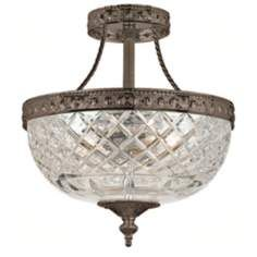 "SMALL - $260 - Crystorama Majestic Bronze 10"" Wide Semiflush Ceiling Light"