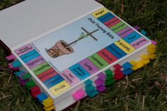 Wonderful resource for parents--organize a Bible w/tabbers on specific topics common in childhood (anger, lying, not listening, etc) so that when children misbehave, you can pull out the Bible and turn quickly to the issue without having to stop to look anything up--its right there, color coded, and ready to be used throughout the day! Wonderful!