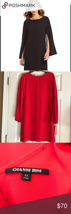 NWT Gianni Bini Salem Red Split Sleeve Dress From the Fan Fav collection by Gianni Bini, the Finley dress features: round neckline long slit bell sleeves straight hem hidden back zipper polyester/spandex dry clean Gianni Bini Dresses