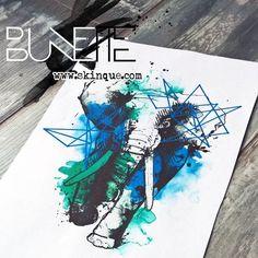 Abstract watercolor geometric animal elephant tattoo inspiration idea bunette