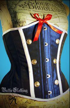Navy Sailor Girl Underbust Steel Boned Corset, Custom Made, Burlesque, Rockabilly, Pin-Up,. $190.00, via Etsy.
