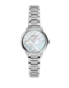 Burberry Womens Classic Round BU10110 Silver StainlessSteel Swiss Quartz Watch -- Details can be found by clicking on the image. (This is an affiliate link)