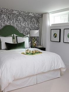 Love the accent wall behind the bed. Great way to use a small amount of wallpaper and achieve a lot of visual impact.