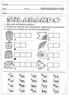 Recorte as sílabas, fome os nomes dos desenhos e cole-os na linha pontilhada