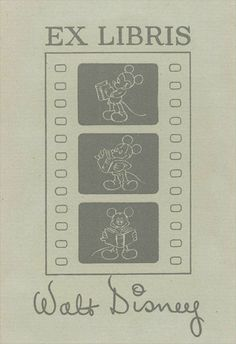 Walt Disney's personal bookplate, via TheArtOfManliness.com