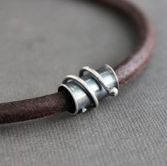 Mens Leather Necklace Sterling Silver Tube Brown Cord. $79.00, via Etsy.
