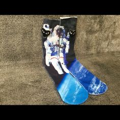 Astronaut Socks Men Women Crew Graphic Street Sock Very stunning, unique and high quality Astronaut socks, perfect for anyone! One Size - Fits Sizes 6-13 Check out my closet for 16 other styles Other