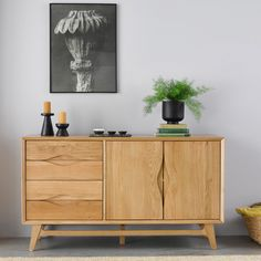 The Ellipse Scandi style large sideboard has plenty of storage, with four drawers and a shelved cupboard. Living Room Inspo, Sideboards Living Room, Perfect Living Room, Solid Oak Sideboard, Oak Furnitureland, Minimal Interior Design, Dining Room Sideboard, Dining Room Inspiration, Scandinavian Dining Room