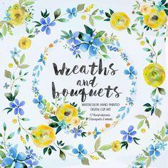 Watercolor bouquets & wreaths Vol.1 by DigitalCloud on Creative Market