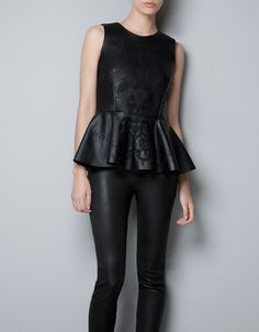 EMBROIDERED FAUX LEATHER PEPLUM TOP - Shirts - Woman - ZARA