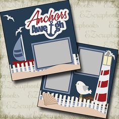 ANCHORS AWAY - 2 Premade Scrapbook Pages - EZ Layout 519