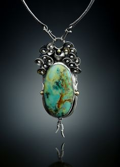 Esperanza Chrysocolla Centerpiece. Fabricated Sterling Silver and 18k Gold.  www.amybuettner.com https://www.facebook.com/pages/Metalsmiths-Amy-Buettner-Tucker-Glasow/101876779907812?ref=hl https://www.etsy.com/people/amybuettner http://instagram.com/amybuettnertuckerglasow