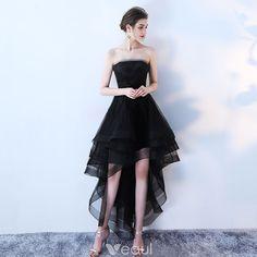 0d9655223a Uroczy Czarne Sukienki Koktajlowe 2019 Princessa Bez Ramiączek Z Koronki  Kwiat Bez Rękawów Bez Pleców Asymetryczny Sukienki Wizytowe