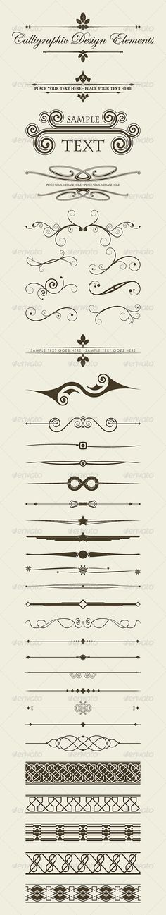 Calligraphic Design Elements Collection #GraphicRiver Calligraphic design elements collection includes classical design elements to embellish your creations. They are ready to use for your badges, labels, frames, borders, greeting cards, commercial cards, personal cards, wedding invitations, certificates, etc. If you like my work, please rate. Thanks. Created: 29April13 GraphicsFilesIncluded: JPGImage #VectorEPS #AIIllustrator