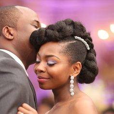 2015 wedding hairstyle ideas for relaxed & natural hair. Whether you're relaxed or natural, we all want to look beautiful on our wedding day. For brides walking down the aisle in on… Natural Bridal Hair, Long Natural Hair, Natural Hair Styles, Long Hair Styles, Black Wedding Hairstyles, Black Women Hairstyles, Bridal Hairstyles, Dreads, Hair You Wear