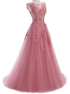 382578b3347 O-neck Prom Dress Tulle Jewel Neckline Party Dress A-line Wedding Dress  With Lace Appliques Evening Dress   3D Flowers   Beading