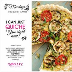 A fabulous reason to look forward to Monday!  New Menu, Menu Items, Vegetable Pizza, Quiche, Frozen, Sweets, Dinner, Food, Sweet Pastries