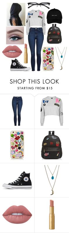 """""""Untitled #293"""" by marieborrero on Polyvore featuring Topshop, Ollie & B, Converse, Miss Selfridge, GURU, Lime Crime and Too Faced Cosmetics"""