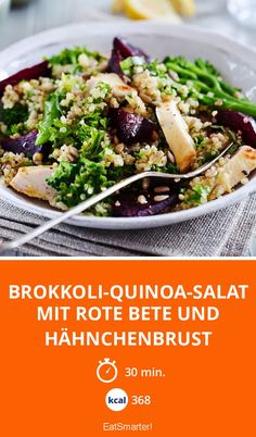 Brokkoli-Quinoa-Salat mit Rote Bete & Hähnchenbrust | Super gesund und super lecker. Fertig in 30 Minuten und nur 368 Kalorien.